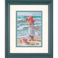 "A sweet young Girl at the Beach enjoys the warm sand and ocean waves in this charming counted cross stitch design. Celebrate the innocent pleasures of childhood when you display this piece in your home. Counted cross stitch kit contains presorted cotton thread, 18 count white Aida, needle, and easy instructions. Finished Size: 5"" x 7"" (13 x 18 cm). From the Gold Collection. Designed by Laurie Snow Hein. © Laurie Snow Hein."