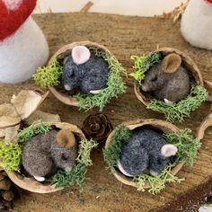 Needle Felted Animals, Felt Animals, Needle Felting, Mouse Crafts, Felt Crafts, Walnut Shell Crafts, Felt Mouse, Cute Mouse, Nature Crafts