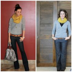Pinspiration- Bright yellow for a cold snowy day. Cute casual outfit. good teacher outfit