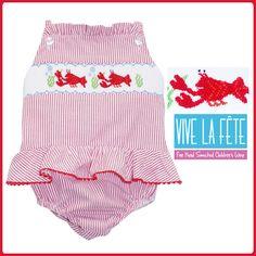 NEW ARRIVAL! Lobster Smocked Girls Sun Suit! #NewArrival #Summer #Beach
