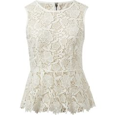 We followed the natural scalloping lace to finish the edge of this adorable little peplum shell. Constructed in soft Ivory Cotton Lace with hip details like an…
