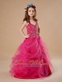 red beautiful 2013 straps little girl pageant dress fashionos.com ...