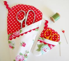 Set of Two Scissor Sleeves - Bijou in White and Red. $20.00, via Etsy.