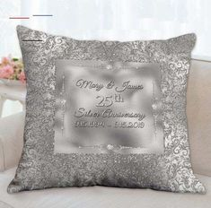 Anniversary Pillow Gifts for Parent, Anniversary, Silver Anniversary, Anniv… - Modern Diy Gifts Videos, Diy Food Gifts, Diy Gifts For Kids, Gifts For Family, Silver Anniversary Gifts, Anniversary Gifts For Parents, Wedding Anniversary, Paper Flowers Wedding, Wedding Flower Decorations