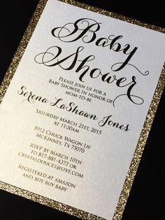 Baby Shower Invitation - Glitter Baby Shower Invitations, Engagement Announcement, Wedding Invitations, Gold, Silver, Die-Cut Invite SERENA