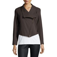 Eileen Fisher Fisher Project Leather Draped Jacket ($950) ❤ liked on Polyvore featuring outerwear, jackets, cinder, cropped jacket, genuine leather jacket, zipper jacket, asymmetrical zip jacket and draped leather jacket