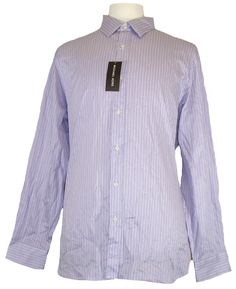 Michael Kors Mens Shirt SYLVAIN Button Down Stripes Purple White XL NEW NWT $195 #MichaelKors #ButtonFront