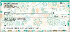 This delightful new design features soft green and brown patterns that create a pleasing symphony of color. Add this striking new check to your checkbook today!