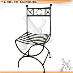 silla romana de hierro en negro epoxi fabrica