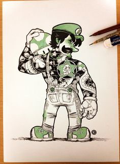 Eduardo Vieira is a Brazilian artist I just discovered, and who used pencils and inks to create this amazingly badass/cool Super Mario Yakuz...