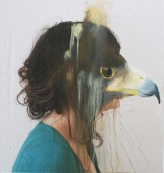 Charlotte Caron makes double exposed, animalistic paintings/photographs. A lot of her pieces are portraits, and I think it's interesting to see how our literal image and the images with which we identify ourselves merge. If I tie an animal (like a hawk) in with who I am, would I recognize myself better in the mirror if my face was a hawk's instead? What is the connection between idealized and physical identity?