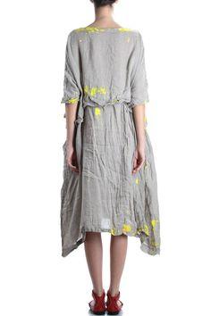 DANIELA GREGIS - Hand Painted Linen Dress :: Ivo Milan