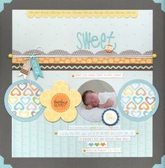Pretty sure I still have a layout or two missing from Grant and Dean's baby books. How yummy is this baby?  Layout by Gretchen McElveen