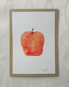 Hand Painted Watercolor Apple Greeting Card one of by thebeeandbug