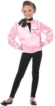 #00412 Chime along with your rendition of hits from the 1950s in this sweet pink satin jacket. This jacket comes with an adorable polka-dotted scarf. Shoes, pants, hair tie and shirt not included. Siz