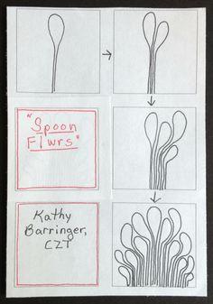 """""""Spoon Flwrs"""" Zentangle by Kathy Barringer Zentangle Drawings, Doodles Zentangles, Doodle Drawings, Doodle Art, Zen Doodle, Tangle Doodle, Tangle Art, Doodle Patterns, Zentangle Patterns"""