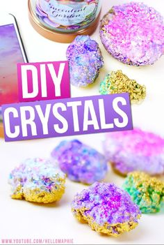 DIY Crystals! Make your own Crystals at home using only ELMERS GLUE AND SEA SALT!!! Click here to learn how to make your own decorative rocks like the ones on Tumblr or Urban Outfitters: https://www.youtube.com/watch?v=UN4SF767rTc&spfreload=10  #DIYCrystals #FauxCrystals #GrowCrystals