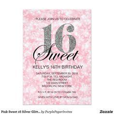Pink Sweet 16 Silver Glitter Lights Print Invite