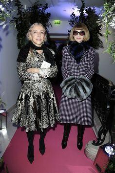 Franca Sozzani and Anna Wintour @ Schiaparelli ~ Couture Fashion Week Paris, Jan. 2014 - Getty Images (vogue.it)