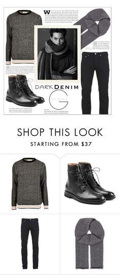 """Menswear Essential: Dark Denim: Greyscale"" by leoll ❤ liked on Polyvore featuring River Island, Maison Margiela, Paul Smith, Hardy Amies, men's fashion, menswear, darkdenim and menswearessential"