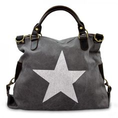 mynewbag.de - #IO.IO.MIO. Ital. Damentasche Leder Canvas Mix großer #Shopper #Stern dunkelgrau
