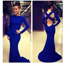 Long Sleeves Crossed Backless Blue Dress