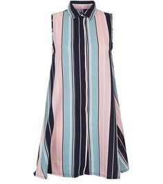 Fantastic Blue Vanilla Pink Stripe Swing Shirt Dress
