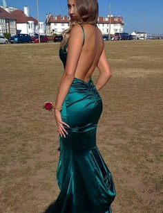 Green Mermaid Prom Dresses V Neck Backless | VestidosProm