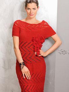 Платье с ажурной кокеткой - схема вязания спицами. Вяжем Платья на Verena.ru