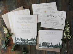 This wedding invitation suite is for the couple getting married in a rustic mountain setting. Illustrations of trees, mountains and a log cabin set