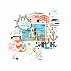 one photo scrapbook layout with subtle diagonal flow, features an ocean/beach theme and motif