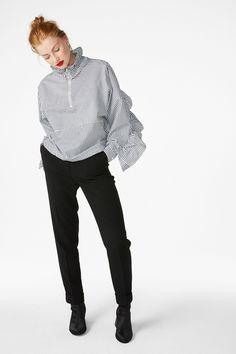 Ruffled zip neck blouse - Wondrous white/Sleek stripes - Tops - Monki GB