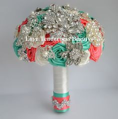 SALE! Wedding Bridal Bridesmaid Brooch Bouquet, Coral Mint Ivory and Silver Wedding Bouquet, Bridal Bouquet, Jewelry Bouquet, Broach Bouquet by LoveBouquet on Etsy (null)