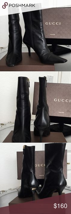 GUCCI boots GUCCI 3 inch heel boots, leather. Used but in excellent conditions. not include box . GUCCI Shoes Ankle Boots & Booties