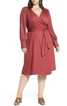 Plus Size Red Dress for Fall | Halogen® Wrap Dress