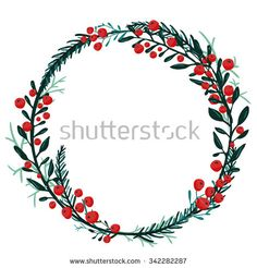 Hand drawn wreath with red berries and fir branches. Round frame for Christmas cards and winter design. Vector layout with copyspace