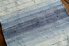 """Swedish retro vintage 1990s HANDWOVEN 26.25 * 54 """"/ inch cotton rag rug carpet with striped pattern in jeans-blue / bone white colors"""