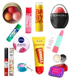 """""""Lip balms"""" by iamkhadizha ❤ liked on Polyvore featuring beauty, Eos, Maybelline, Carmex, Nivea, Sephora Collection, Rimmel, Givenchy, TheBalm and Chanel"""