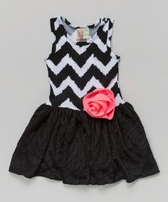 Another great find on #zulily! Black & White Zigzag Lace Tank Dress - Toddler & Girls by Twirls & Twigs #zulilyfinds
