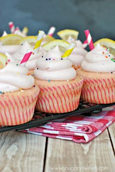 Pink Lemonade Cupcakes: fun, from scratch, cupcakes topped with a creamy Pink Lemonade frosting!