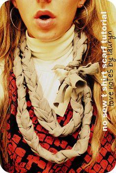 no sew braided t-shirt scarf