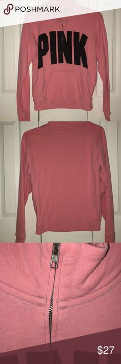 'Pink' PINK sweatshirt 3/4 zip 'Pink' PINK sweatshirt 3/4 zip. Worn multiple times but no longer fits. Has a small mark on the back of the left sleeve. PINK Victoria's Secret Tops Sweatshirts & Hoodies