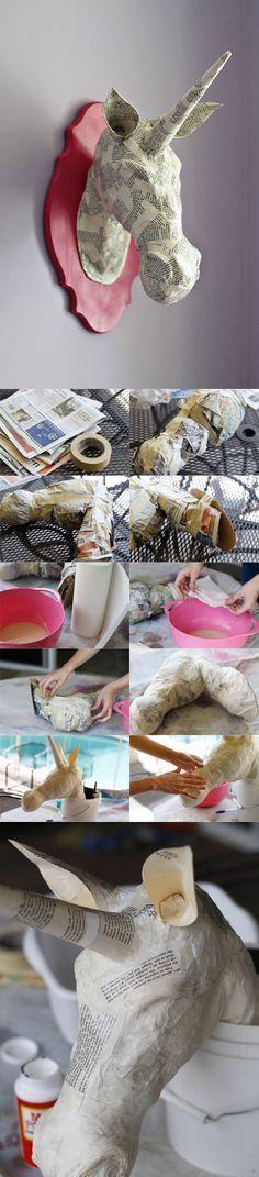 Paper Mache Animal Heads (A Tutorial) – Origami Paper Mache Projects, Paper Mache Crafts, Diy And Crafts, Crafts For Kids, Arts And Crafts, Diy Paper, Paper Art, Diy Projects To Try, Craft Projects