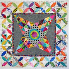 #midnightoasisqal | Flickr - Photo Sharing!  orange peel border on star quilt. Bright and gorgeous.