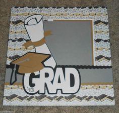 Graduation 2013 Cap Diploma Premade Scrapbook Layout 1 page 12x12 Paper Pieced