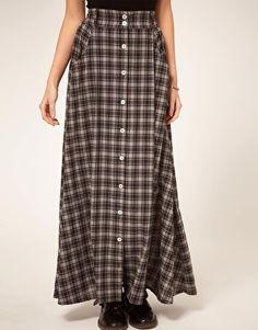 Minkpink 'Check Republic' Button Through Maxi Skirt