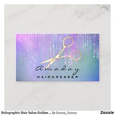 Holographic Hair Salon Golden Scissors Drips Pink Business Card