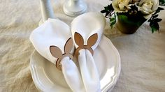 Easter napkin rings Bunny napkin rings by Littlewhiteboutique