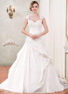 Forme Marquise Bustier en coeur Traîne mi-longue Taffeta Tulle Robe de mariée avec Plissé Dentelle Emperler Sequins (002055090)