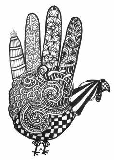 Hand Turkey zentangle